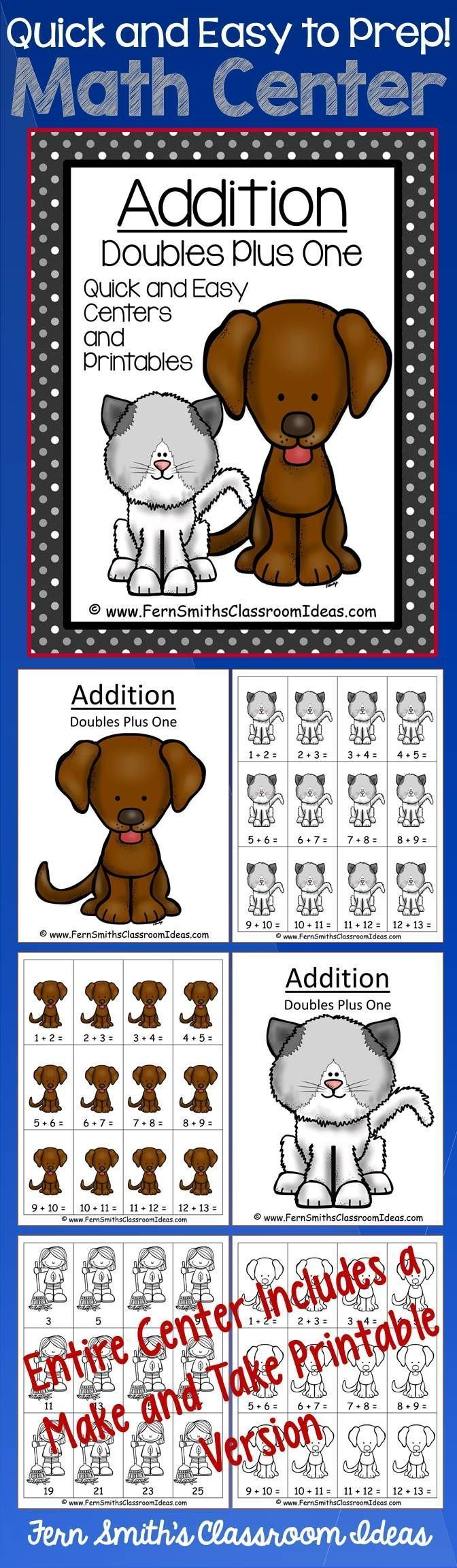 Quick and Easy to Prep Addition Doubles Plus One - Kittens and Puppies Centers and Printables #TPT $Paid