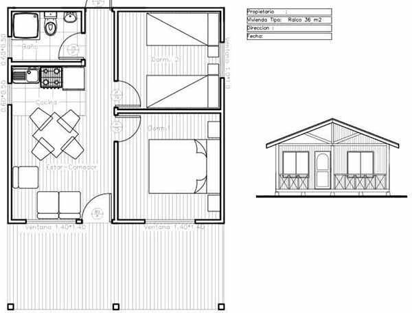 Plano de casa de 36m2 f cil de construir en madera - Casas de madera planos ...
