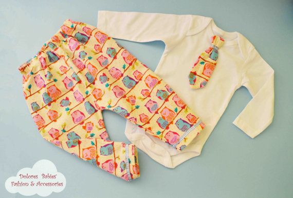 Baby Boy Set Owl Printed Cotton Pants by DoloresBabyBoutique