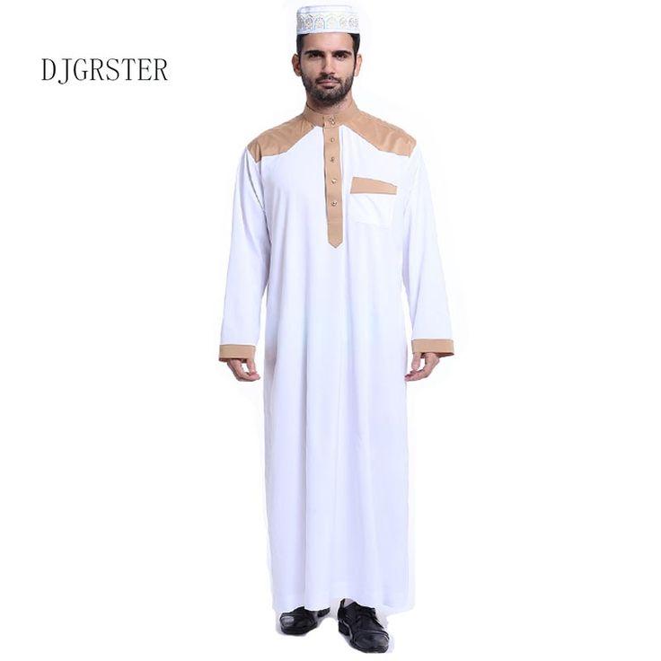 DJGRSTER Muslim clothing for Men Mens Kaftan Jubba Thobe White Abaya Arab clothing Man Islamic clothing Ropa Arabe hombre