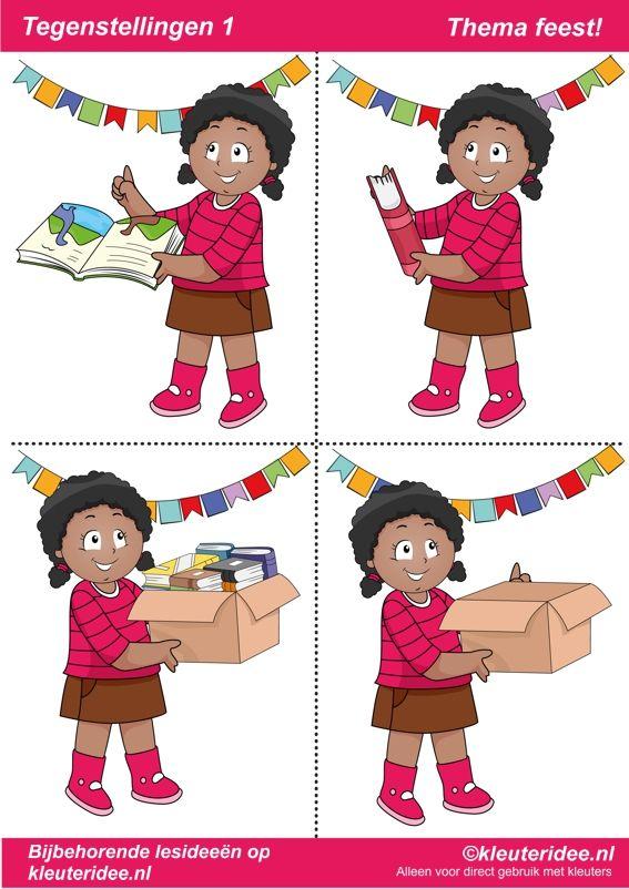 Tegenstellingen deel 1, 9 bladen, thema feest voor kleuters, juf Petra van kleuteridee, bij behorende les op de website, preschool opposites, free printable