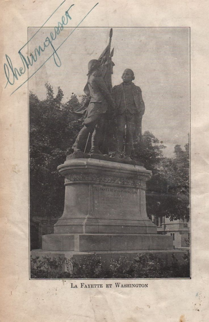 NUNGESSER CHARLES: (1892-1927) French Fighter Ace of World War I, ranking third highest in the country with 43 air combat victories. Vintage signed 4½ x 7 magazine photograph, the image depicting the Bartholdi's statue  Lafayette and Washington. Signed by Nungesser with his name alone, in bold blue fountain pen ink, to the upper left corner. A rare signature due to Nungesser's untimely death whilst attempting a non-stop crossing of the Atlantic.