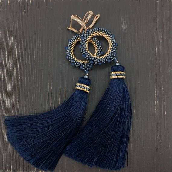 Tassel Earrings ROYAL BLUE long earrings beaded earrings