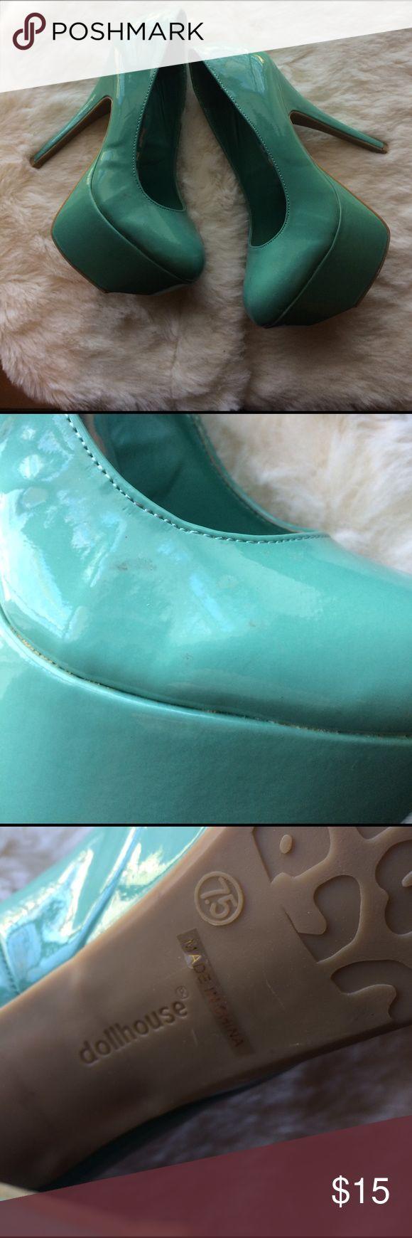 Dollhouse aqua heels Like new worn twice dollhouse heels. Minor scuffs can barley notice. Dollhouse Shoes Heels