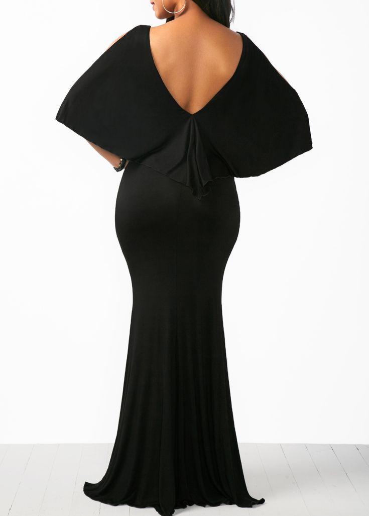 Open Back V Neck Cold Shoulder Cape Dress on sale only US$35.84 now, buy cheap Open Back V Neck Cold Shoulder Cape Dress at liligal.com