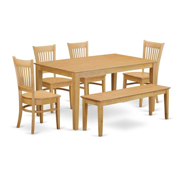 Beautiful CAVA6 OAK 6 Piece Table Set   Kitchen Table And 4 Dining Room Chairs  Combined With A Wooden Dining Bench (Microfiber), Gold, Size 6 Piece Sets