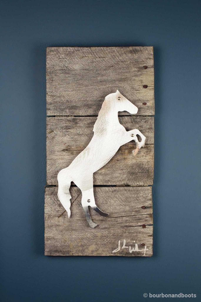 Horse Raring Reclaimed Wood & Shaped Metal Art $85