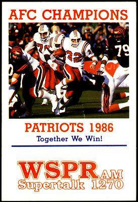 1986 New England Patriots WSPR Am Radio Pocket Schedule AFC Champs Free Shipping | eBay