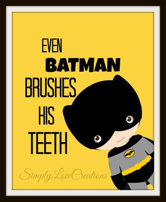 Batman Bathroom Sign: Superhero Bathroom Art Prints Set Of 3 By