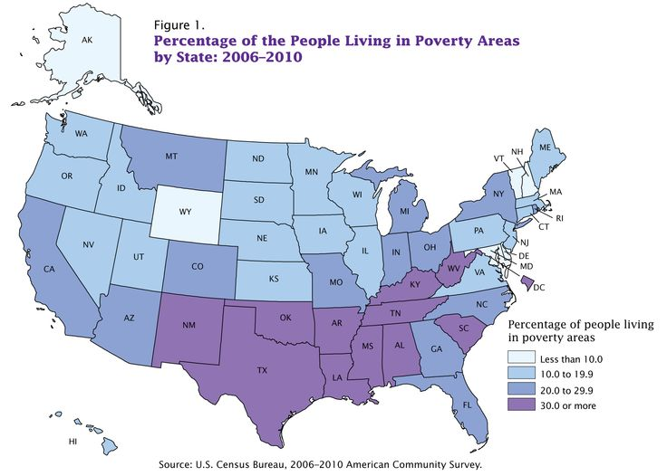 US Census Bureau map of people living in poverty as of 2010.  Purple = 30% of people living below the poverty threshold.  The first step in eliminating relative extreme poverty is recognizing the differences among income, expenses, needs, and wants.  Gainful employment earning a fair wage positively impacts the body, mind, and spiritual wellness of a home.  As a land of opportunity, Americans need access to entrepreneurial support systems and corporations need to thrive in global…
