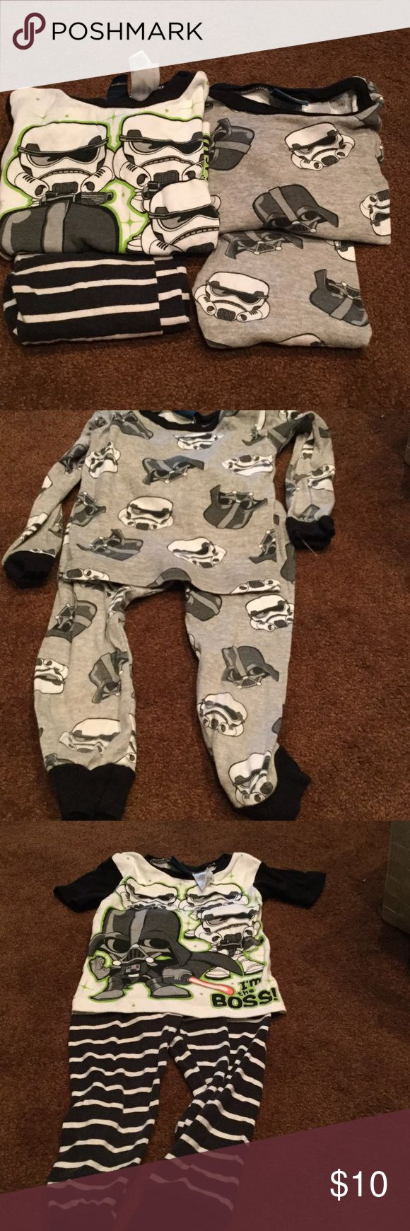 2 Pair of Star Wars pjs 2 pairs of pajamas. One is short sleeve. Good condition. No holes or stains. Smoke free home Star Wars Pajamas Pajama Sets