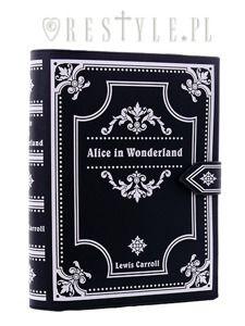 "BLACK BOOK bag ""Alice in Wonderland"" gothic lolita handbag, Lewis Carroll"