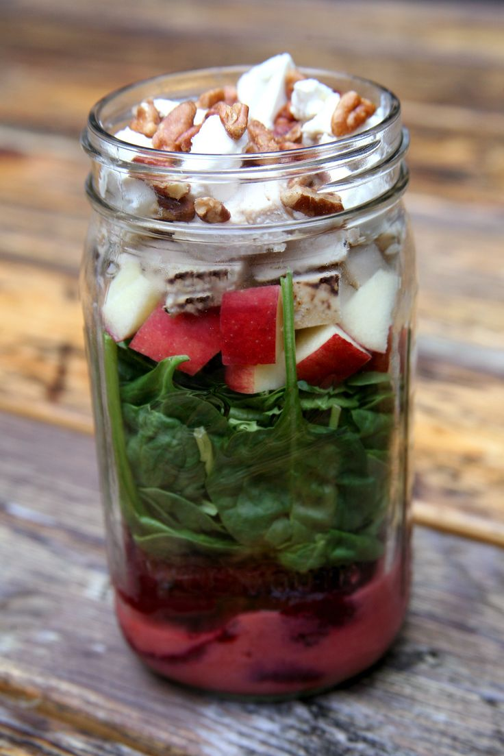 Grilled Beet, Chicken, Apple, and Spinach Salad With Strawberry Vinaigrette #saladjar #mealprep #lunch