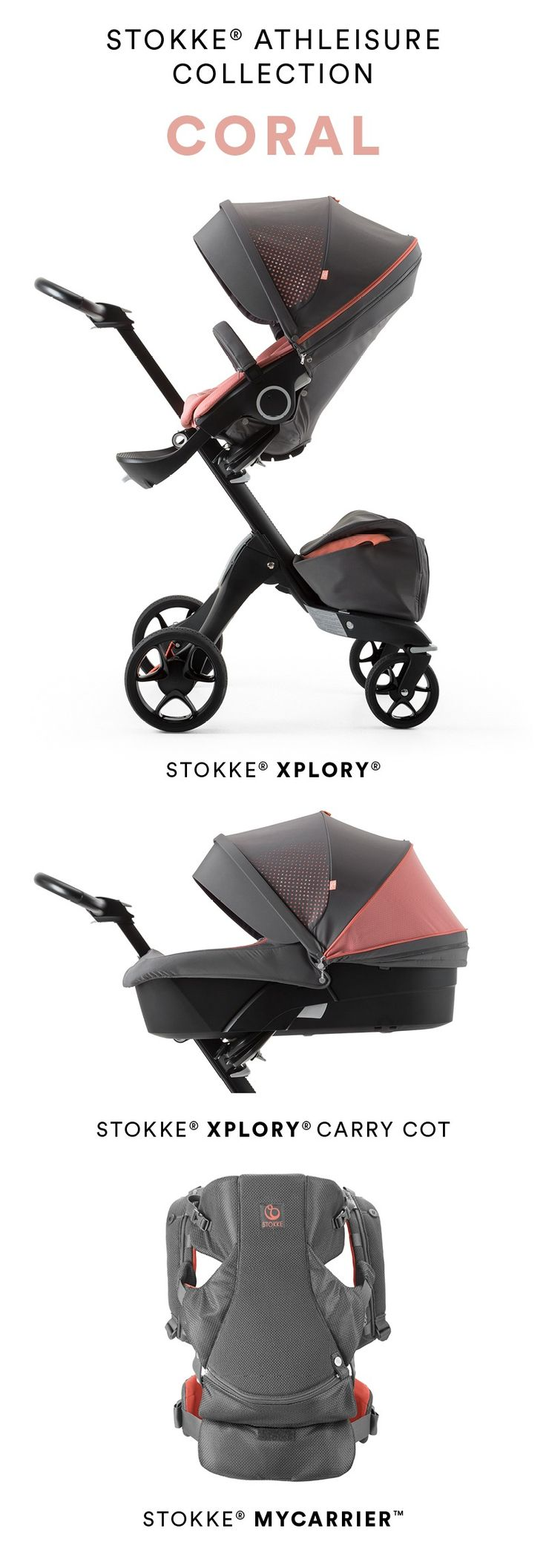 Inspired by your active lifestyle as parents, breathable, technical fabrics have been carefully selected for their wicking and quick-dry properties to outfit our Stokke Athleisure Collection Xplory, MyCarrier and Carry Cot. Shop Coral (pictured) and Marina Blue now