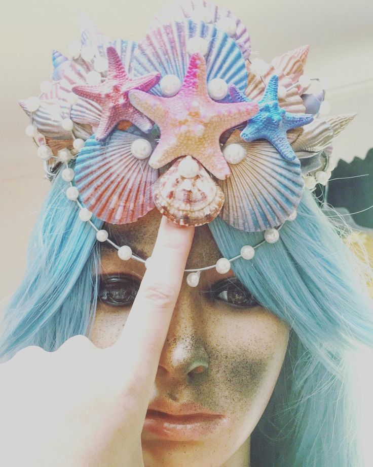 #mermaid #couture #fashion #handmade #Bloomington #Indiana #behindthescenes #custommade #oneofakind #mermaidbikini #bikini #handpainted #jealousyjane @jealousyjane http://ift.tt/2oZrWrO #starfish #seashells #pageant #crown #seashellcrown #bluehair