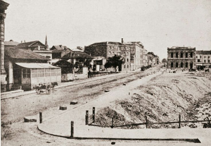 Pitt St from Bridge St, Sydney looking south in 1856.