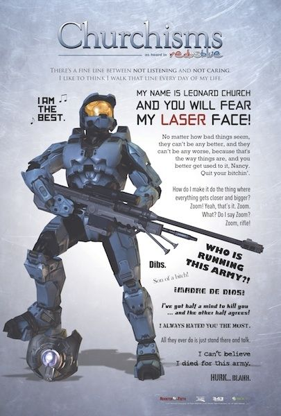 "Rooster Teeth · Churchisms Poster (24"" x 36"") - Red vs Blue.. As of now Church is my favorite character :) it was hilarious when he died and the noises that were made when he took over people's bodies:)"