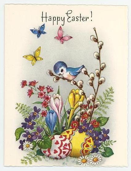 vintage Easter card - bluebird, flowers, butterflies