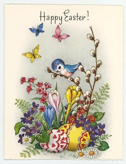 vintage Easter card - bluebird, flowers, butterflies