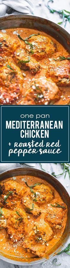 One Pan Mediterranean Chicken in Roasted Red Pepper Saue | lecremedelacrumb.com