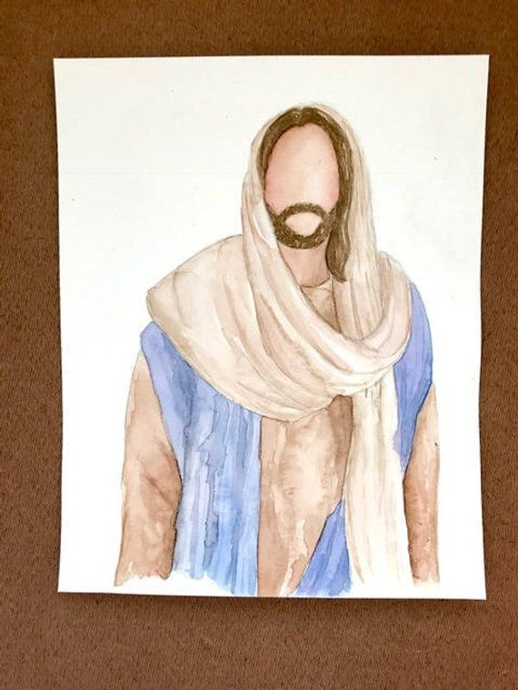 Handpainted Watercolor Jesus Portrait Jesus Painting Jesus