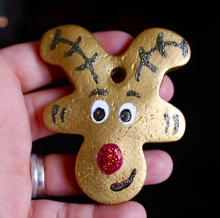 salt dough reindeer using an upside down gingerbread man cookie cutter