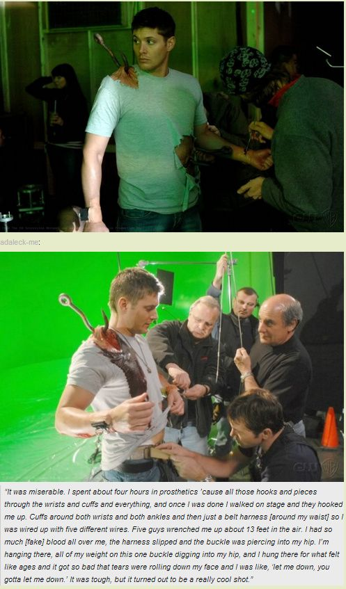 Jensen quote, behind the scenes of 3x16. Poor baby!!! So that anguish wasn't all acting... I'm going to go cry