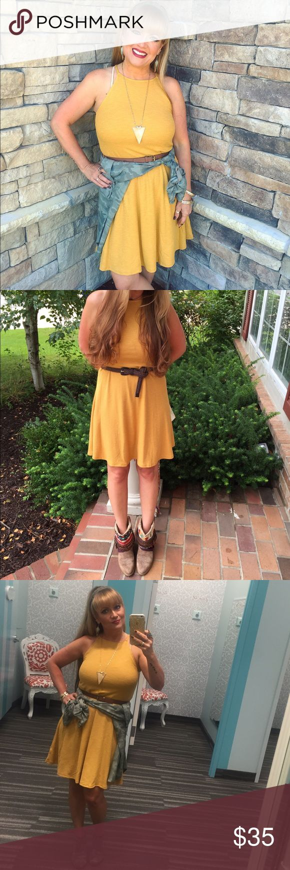 Autumn Gold ribbed dress Gorgeous & flattering gold dress. Fitted bust and skater skirt style. Comes with belt. Size small. Dresses Midi