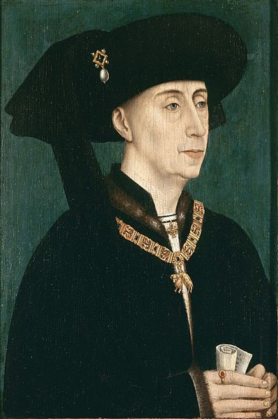 Philip the Good, duke of Burgundy. Copy (after 1450) after Rogier Van der Weyden. Oil on panel. Groeningemuseum, Bruges.: