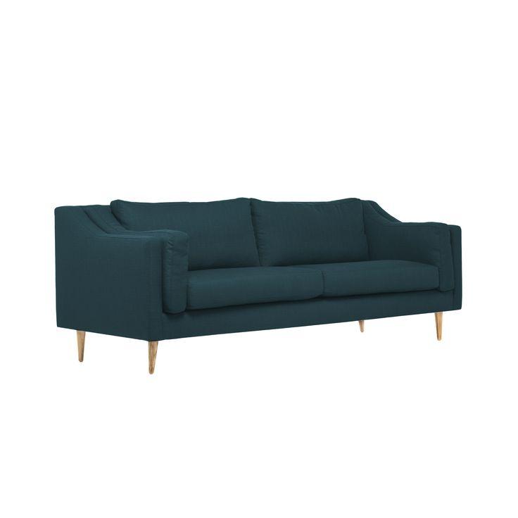 Cambria Sofa In Azure W/ Walnut Legs