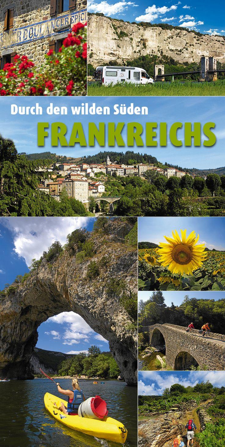 Wildes #Südfrankreich an der #Ardèche – Der als Kanutenparadies berühmte Fluss Ardèche durchzieht 125 Kilometer lang einen Landstrich. Dort gibt es auf einer #Wohnmobil-Tour viel zu entdecken: tiefe #Canyons, hohe Berge und ursprüngliche Dörfer.