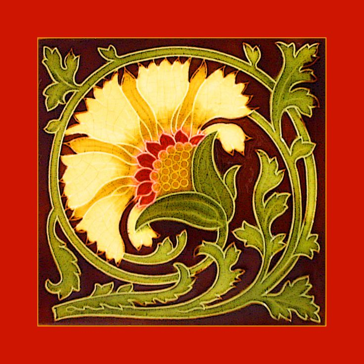 """Art Nouveau tile by Mintons China Works (1905-8). Courtesy Robert Smith, from his book """"Art Nouveau Tiles with Style"""". Photoshopped by Catherine Hart."""