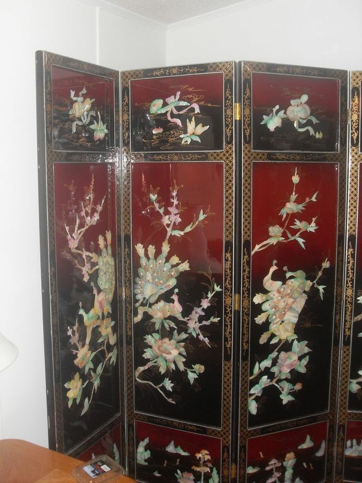Vintage Asian Carved Shell Mother of Pearl Room Divider (6ft tall) black  lacquer - 48 Best ASIAN SCREEN Images On Pinterest Art Furniture, Modern
