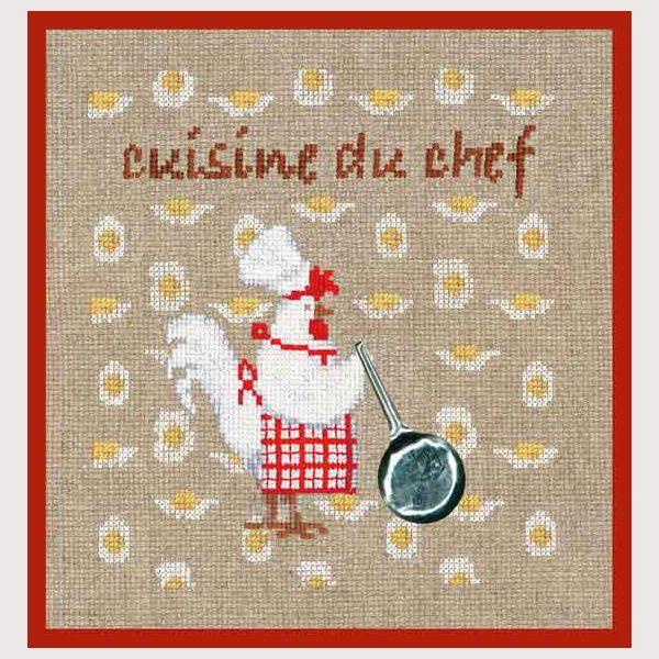 kit de broderie au point de croix points comptés : cuisine cuisine du chef présentation cadeau (oeuf plastique) réf. 2721 CRéation Cécile Vessière