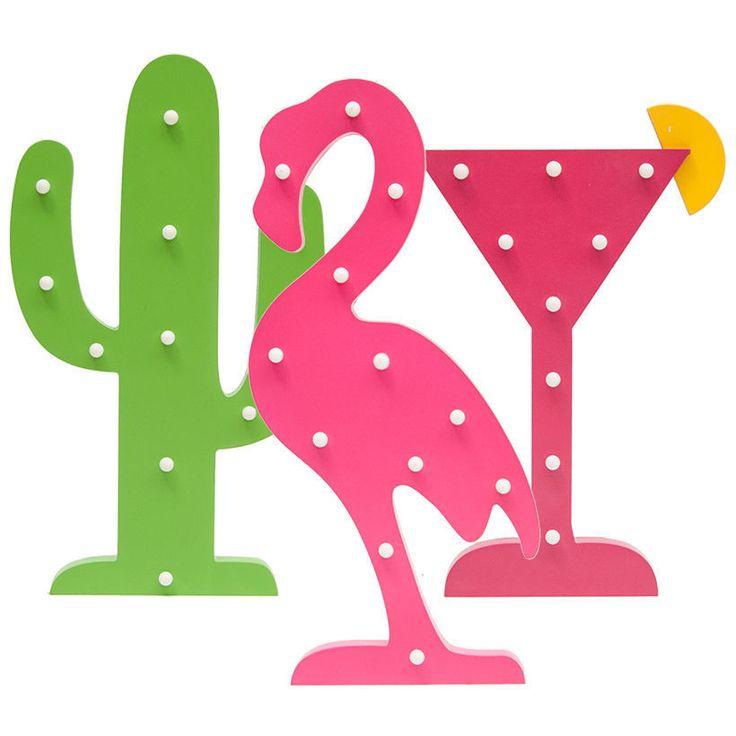 Tropical Marque Summer LED Cocktail Novelty Light Flamingo Cactus Party Decor