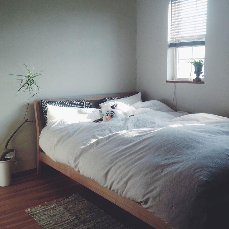 I無印良品のベッドとベッドカバー/KEA/無印良品/ベッド/ニトリ/ブラインド 木製/ベッドカバー…などのインテリア実例 - 2015-10-30 16:56:59 | RoomClip(ルームクリップ)