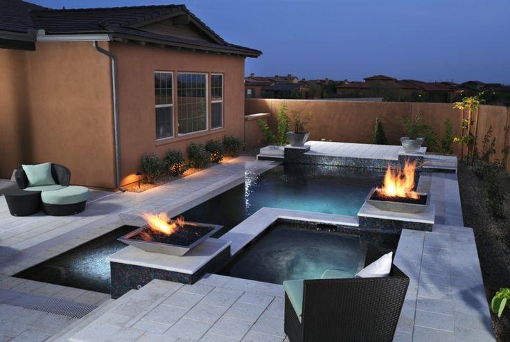 den pool mit feuerstellen kombinieren garten pinterest eine feuerstelle am pool - Versunkene Feuerstelle Designs
