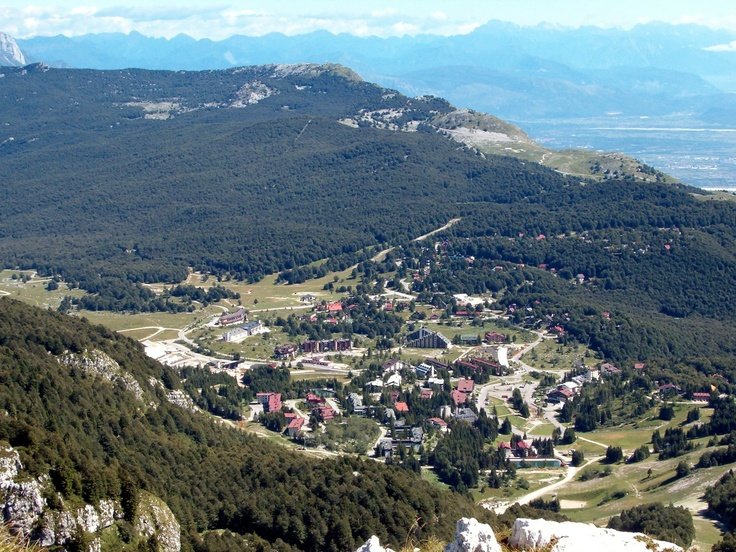 Arial photo of the city of Piancavollo, looking down from the mountain of the same name