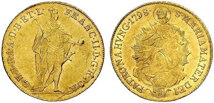 AV Ducat. Hungary Coins, Habsburg Rulers. Franz II. 1792-1835. Kremnitz mint, 1798. 3,48g. F 209. EF. Price realized 2011: 700 USD.