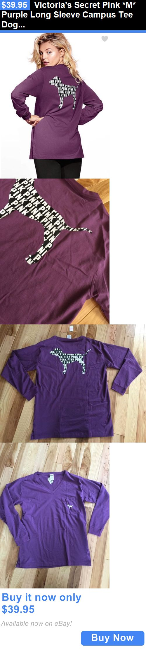 Women T Shirts: Victorias Secret Pink *M* Purple Long Sleeve Campus Tee Dog Logo BUY IT NOW ONLY: $39.95