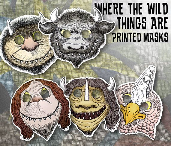 Where the Wild Things Are Printed Mask Set 10 Masks great party favor!! at https://www.etsy.com/listing/274280348/10-printed-where-the-wild-things-are