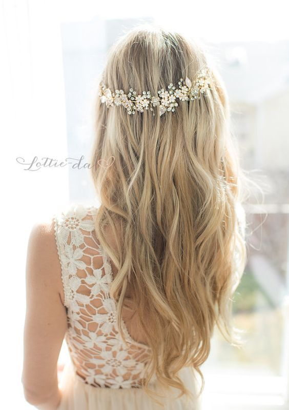 Wedding Hairstyles  :   Illustration   Description   long down wedding hairstyle via LottieDaDesigns / www.deerpearlflow…    - #Hairstyle