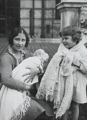 "Baby Princess Margaret Rose with her big sister who would become queen...and their mother, who would become the ""Queen Mother."""