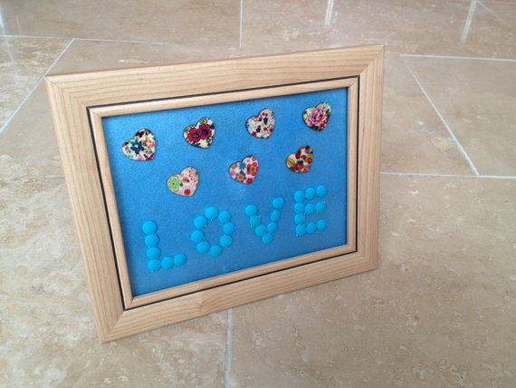 Love Buttons Picture Frame Wall Hanging Art Home by IantheFrames