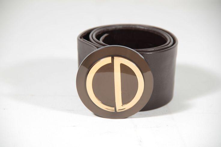 CHRISTIAN DIOR Vintage Dark Brown Leather BELT with CD LOGO Buckle