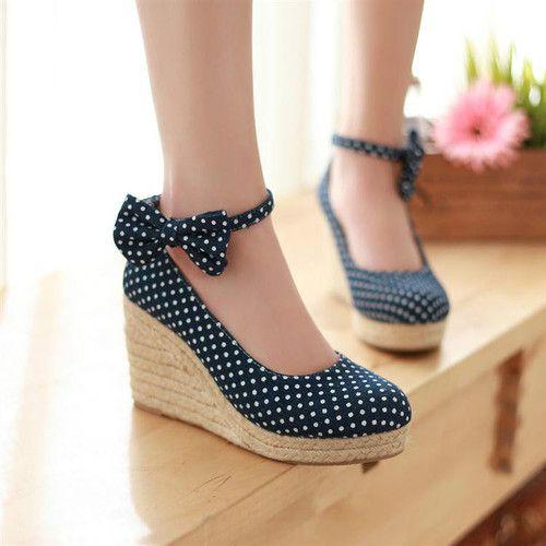 Vintage Ankle Strap Bowknot Espadrille Round Toe Mary Jane Wedge Platform Shoes | eBay