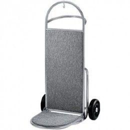 Carrito portaequipajes moderno y elegante para usar en zonas públicas. Alta capacidad de carga, gancho para colgar, tirador doble y 2 ruedas fijas para facilitar el transporte de equipajes pesados. Base de carga revestida en gris que ayuda a proteger las maletas.