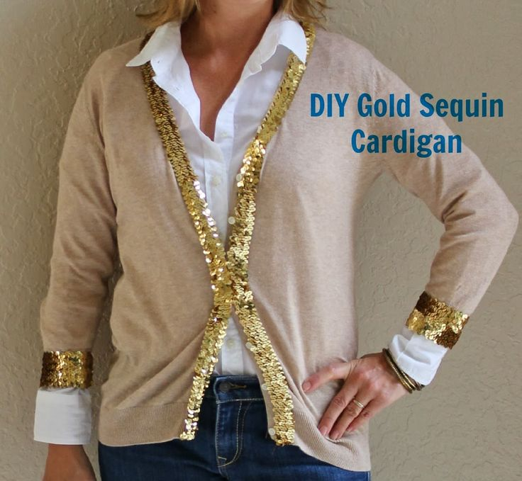 It's Mostly About Fashion: DIY Tan Cardigan with Gold Sequin Embellishment