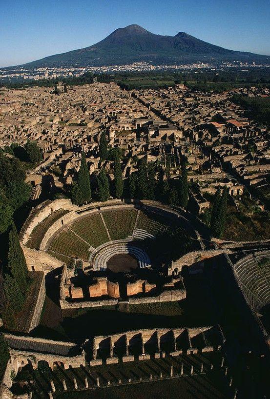 View of Pompeii toward Mount Vesuvius - Pompeii, Italy