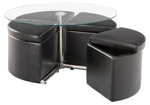 Aim for a glass adjustable height coffee table to keep space open in your home. What comes with it is a set of four ottomans that suit you perfectly when it's time to convert the coffee table into a dining table.